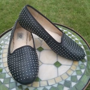 UGG Alloway silver studded black leather flats